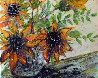 Sunflower Blooms #2, Original Multimedia Painting