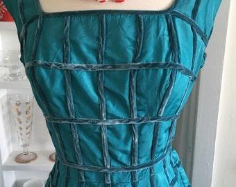 1950s 50s Teal Blue Taffeta Dress wih Velvet Windowpane Design