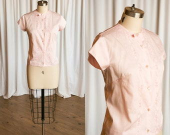Swiss Miss blouse | vintage 60s blouse | pink cotton buttondown blouse | vintage 1960s blouse | pink embroidered blouse | 1960s pink top