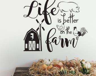 Farmhouse decor, rustic country decor, farmhouse decor kitchen, farmhouse wall decor, farmhouse wall decal, farmhouse quote, farm animals