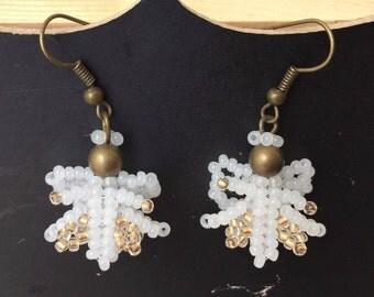 Czech Seed Bead Earrings Beaded Jewelry Beadwork Women Accessory Beaded dangle earrings White Gold Angel Jewelry Christmas Earrings
