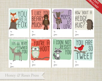 Printable Woodland Valentine's Day Cards  .  Kids Valentines Cards  .  Children's Classroom Valentines  .  Instant Download  .