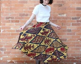 Folk Motif Batik Style Vintage 1950s Circle Skirt