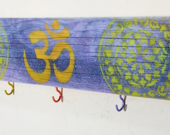 Boho om art custom wood signs/ wooden yoga ohm sign 5 coat hooks /key holder mandalas wall hanging organizer/ reclaimed wood boho decor