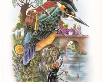70's illustration design Alan Aldridge kingfisher psychedelic Waiting for a bite bird vintage print anthropomorphic 8.25x11 inches