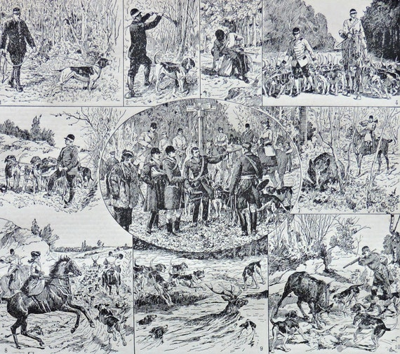 Hunting at the beginning of 20th. Hunt print. Old book plate, 1922. Antique  illustration. 94 years lithograph. 8'1 x 11'4 inches.