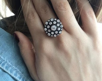 Rose Cut Ring, Dainty Ring, Rose Gold Ring, Vintage Ring Vintage Look Ring, Antique Ring, Stackable Ring,Sterling Silver Ring, Gifts for her