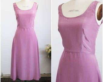 Vintage 1960s Slip Dress / Lavender Rayon Slip / Purple 60s Slip / Fit And Flare / Sleeveless Dress