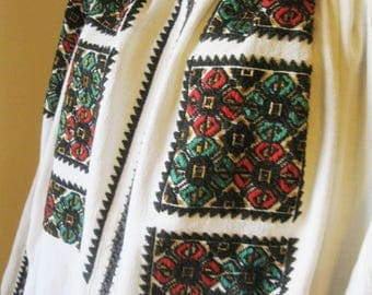 Antique Romanian peasant blouse dress, ethnic Romanian costumes dress size , antique handmade traditional dress  Eastern European dress  L