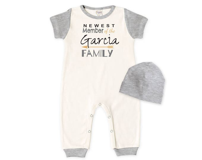 Personalized Newborn Coming Home Outfit, Newborn Boy Girl Take Home Romper, Gray, Newest Member of the Family, Tesababe  RC860IYHG0295