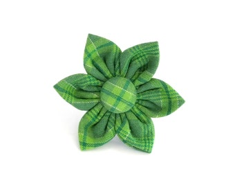 St Patrick's Day Green Plaid Flower ONLY for Dog collar, Cat collar, collar flower, collar flower, wedding flower, flowers for dog collars