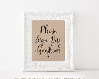 Guest Book Sign, Please Sign our Guest Book, Guest Book Printable, Wedding Sign, Reception Sign, PDF Instant Download, 8x10 and 5x7