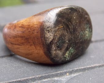 Walnut and Maple Buckeye Burl Wood fussion ring size 10