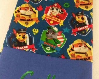 STANDARD Personalized Pillow Case made with Blue Paw Patrol fabric