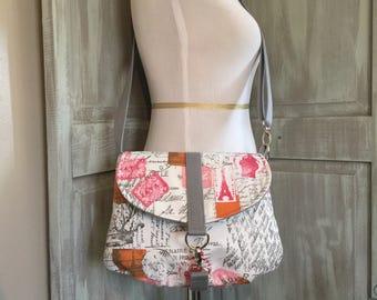Paris Print Crossbody Bag with an Adjustable Strap