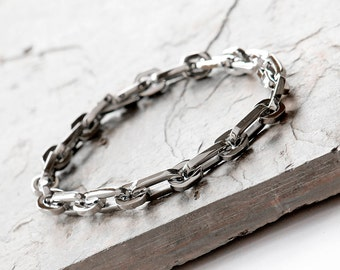 Mens chain bracelet etsy mens stainless steel bracelet mens chain bracelet gift for him stainless steel mozeypictures Images