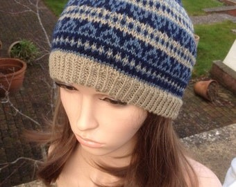 Hand-knitted Fair Isle style Hat