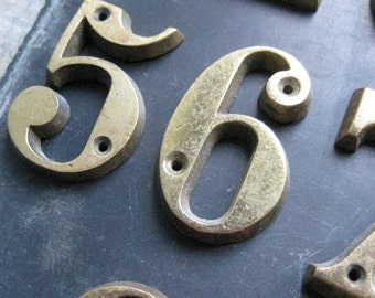 vintage french brass numbers, numerals