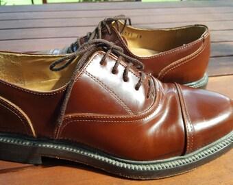 Vintage Mens Aquila tan all leather lace up shoes Euro 39 /  US 8 / UK 6.5 brogue dapper suit