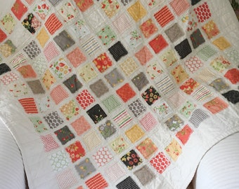 Pink and Yellow Baby Quilt , Pink Baby Quilt , Vintage Quilt , Vintage Baby Quilt, Pink Nursery Decor , Newborn Photo Prop , Baby Quilt