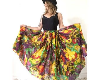 1970s indian FLORAL Gauze rené Derhy hippie Boho summer SKIRT // size one
