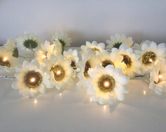 Sunflower fairy led lights, white sunflower Lights String Garland, 20 led lights