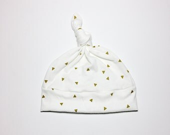 cream white and gold triangle geometric Photo prop Cotton Knit Stretch Knot Beanie,Baby Infant Girl Hat,newborn, modern, take home outfit