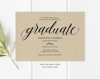 graduation party invitation template | etsy, Party invitations