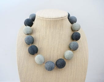Grey Ombre Ball Statement Necklace