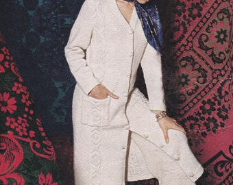 Womens aran midi coat vintage knitting pattern pdf INSTANT download pattern only pdf 1970s 32 34 and 36 inches
