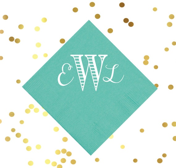 Traditional monogrammed cocktail napkins, wedding reception napkins, personalized party napkins, bar cart napkins, birthday party napkins