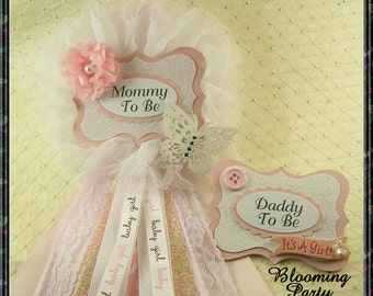 Set Of Pink Butterfly Mommy To Be and Daddy To Be Corsage Butterfly Baby Shower Corsage Pink Butterfly Baby Shower Corsage