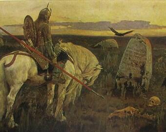 A Knight at the Crossroads, Victor Vasnetsov, Rus, Bogatyr, Hero, Illustration, Unused Postcard, Soviet Vintage Postcard, USSR, 1987