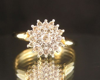 14k Yellow Gold 1cttw Diamond Cluster Ring - Vintage Estate - On Consignment