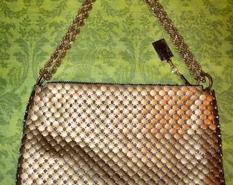 Vintage Whiting & Davis Matte Gold Enamel Mesh Purse Shoulder Bag