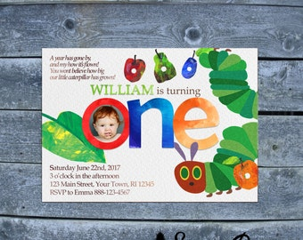 Very Hungry Caterpillar Birthday Invitation - Story Book Birthday Invitation - First Birthday Invitation - Caterpillar Birthday Invitation
