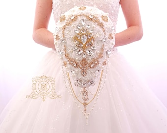 Ivory and Gold BROOCH BOUQUET Great Gatsby wedding style. Bling crystal unique teardrop cascading broach boquet, gold jeweled