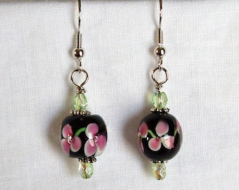 Lampworked Glass Earrings with Pink Flowers
