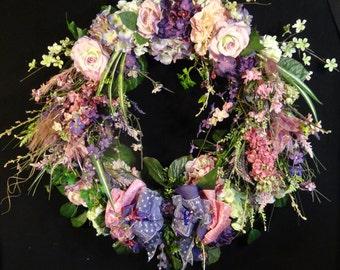 Sale Wreath,Large Summer Wreath,Spring XL Floral Wreath,Silk flower Grapevine Wreath,Summer Wedding Decor,Luxury front door wreaths