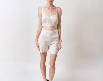 Calvin Klein Sport Knit Shorts Vintage Ivory Cotton Bloomers High Waist Normcore Health Goth Waist 29 30 31 32 M