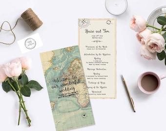 Wanderlust order of service/order of the day program - DL Portrait - Double sided Wedding Programme