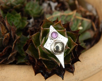 Tiny Star Pin or Tie Tack in Sterling Silver with Amethyst , Pyrite