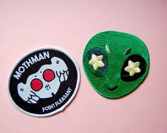 Alien & Mothman Iron On Patch Set
