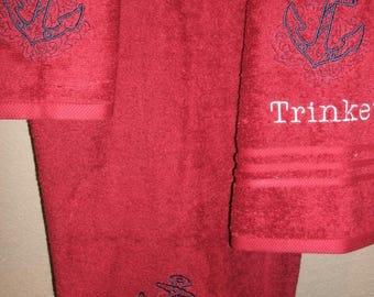 Anchor Sketch  Ocean Nautical 3 piece Personalized Bath, Hand, Washcloth Towel Set