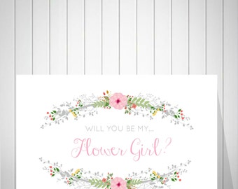 Flower Girl Card, Will you be my Flower Girl? Be my flower girl card, Flower girl proposal, Flower Girl Invitation -49877B