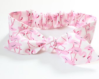 Flamingo Baby bow headband, infant knot headband - pink flamingo