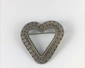 Open Heart Silver Brooch with Rows of Sterling Silver Dot Accents