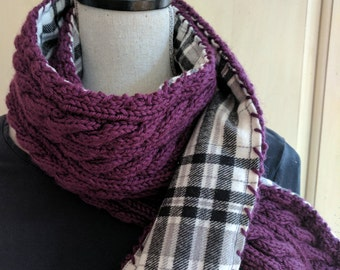 Hand Knit Flannel-Lined Scarf / Plaid / Maroon Scarf /