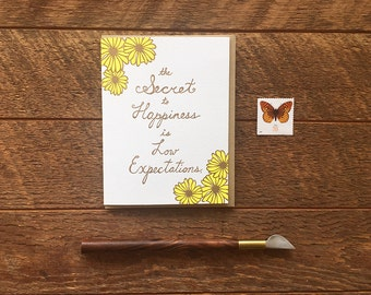 Secret to Happiness, Letterpress Greeting Card