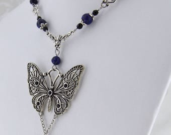 Butterfly Garden - butterfly necklace - Gemstone butterfly necklace - blue and black antique silver tone - swarovski crystals -